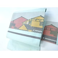 【IDN】 九寸名古屋帯 建物文様 リメイク【リサイクル】【中古】【着】