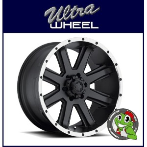 新品アルミホイール単品1本価格 18インチULTRA WHEEL Type-195 Crusher 18×8.5J 5/127+10SatinBlack w/DiamondCut Lip...