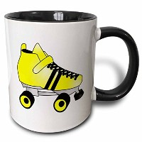 3dローズJanna Salak Designs Roller Derby–Skating Gifts–イエローandブラックRoller Skate–マグカップ 11-oz Two...