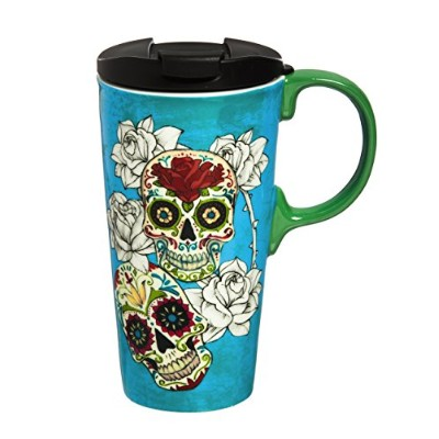 """CypressホームDay of the Dead 17oz BoxedセラミックPerfect旅行コーヒーマグまたはTea Cup with Lid–3"""" W x 5.25"""" D x 7..."""