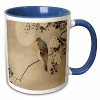 3droseヴィンテージスタイルAsian Bird–イメージのヴィンテージスタイルアジアwith Bird on floralブランチ–マグカップ 11-oz Two-Tone Blue...