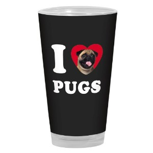 Tree-Free Greetings PG04106 I Heart Pugs Artful Alehouse Pint Glass, 16-Ounce, Tan and Black by...