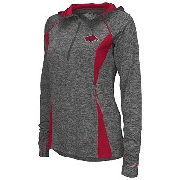 Womens Arkansas Razorbacks Quarter Zip風シャツ L レッド