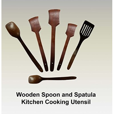 6 Piece Shisham Wooden Utensils Set Includes Cooking Turners, Slotted Turner, Cooking Spoons and...