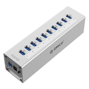 ORICO 10 Port Aluminum USB 3.0 HUB with 12V3A Power Adapter and 3.3Ft. USB3.0 Cable - Silver [A3H10]