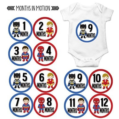 Months in Motion 808 Monthly Baby Stickers Superhero Baby Boy Month 1-12 Milestone Age Sticker Photo Prop by Months In Motion
