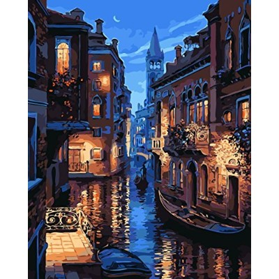 DIY Oilペイントペイントby Numbersキットfor Adults初心者、Venice Night Frameless 16x 20inch