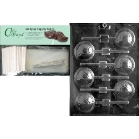 Cybrtrayd 45stk25s-s019サッカーボールLollyスポーツチョコレートキャンディ金型、Includes 25 Lollipopスティック、25 Cello Bags and...