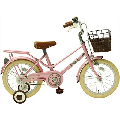 TOPONE キッズ ジュニアサイクル 16インチ 子供用自転車 補助輪 籐風前カゴ ピンク
