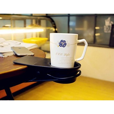 (Blue) - Dirza Drinking Cup Holder Clip - Clip On Office Table Desk Side to Hold Coffee Water Drink Beverage Soda Tea Blue