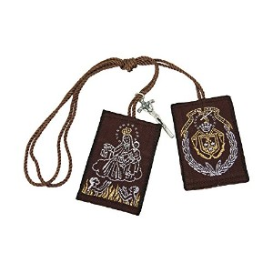 Our Lady of Mount Carmel Big Scapular withクロスチャームEscapulario Café de la Virgen del Carmen Con Cruz