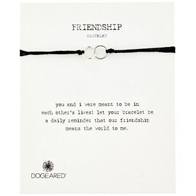 "[ドギャード]Dogeared ""Modern Wrist"" Friendship Double-Linked Rings Black with Adjustable Bead Closure..."