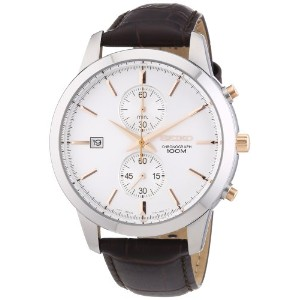 Seiko セイコー メンズ腕時計 Chronograph Silver Dial Stainless Steel Mens Watch SNN277