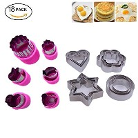 kuxunフルーツカッター図形セット( 7Piece )–Mini Cookie Cutters、野菜形状Cutters for Kids花、ウサギ、ハート、スター、ミッキー図形、 グリーン