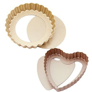 Quiche Tart Pans Round and Heart Shaped Mini Non-Stick Pie Pans with Removable Loose Bottom,...