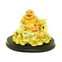 CreativeGifts Vastu fingshui Golden Good fortune Laughing Buddha with Money Frog +無料Rudrakshaブレスレット