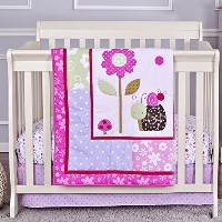 Dream On Me 3 Piece Set Reversible Portable Crib Bedding Set, Spring Time by Dream On Me