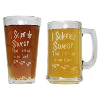 I Solemnly Swear That I Am Up To No Good Beer Mug Andパイントガラスギフトセット – 15oz刻印Beer Mug 16oz Pint glass...