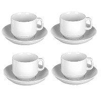 Cappuccino Cup & Saucer InヨーロッパホワイトStoneware ~のセット( 4)