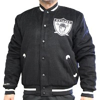 "Oakland Raiders Mitchell & Ness NFL「in the stands ""プレミアムヴァーシティジャケット L ブラック"