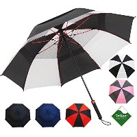 "Repel Golf Umbrella with Triple Layered Reinforced Fiberglass Ribs Adorned in Red Paint, 60"" Vented..."