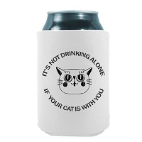 Not drinking alone with Cat Face |面白いノベルティCan Cooler Coolieハギー–のセット2つ( 2) |ビール飲料ホルダー–ビールギフトホーム...
