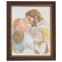 GerffertコレクションJesus Christ with Children Framed Portrait印刷、13インチ 11 x 13 Inch ブラウン PN#506Series