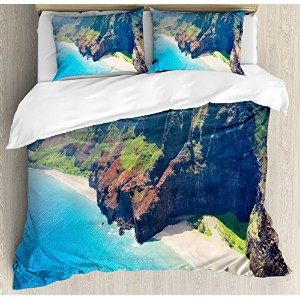 ハワイアンDecorations布団カバーセットby Ambesonne、na pali coast onカウアイ島I ?Sland onハワイin a sunny day Seaside...