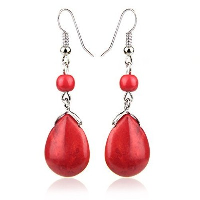 Vintage Red Drop Stone Bead Fringe Dangle Earrings For Women Girls Alloy