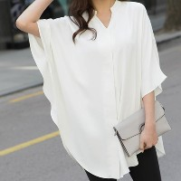 [zoozoom] Silky henry-neck cape blouse 3color / 19672