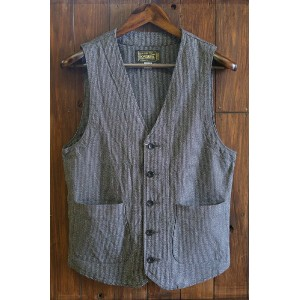 ORGUEIL(オルゲイユ)【OR-4097】【Workers Gillet】ワーカーズジレベスト 撚り杢ストライプ生地 水牛ボタンMADE IN JAPAN