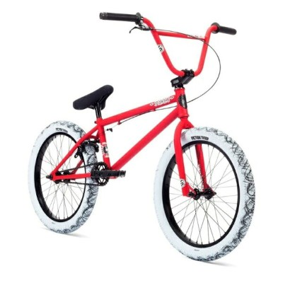 "STOLEN BMX 自転車 STEREO 20"" COMPLETE BIKE, MATTE FIRE ENGINE RED/WHITE SPLATTER S2094 20インチ 完成車 完全組立..."