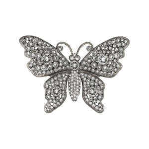 Gucci Crystal studded butterfly brooch - メタリック