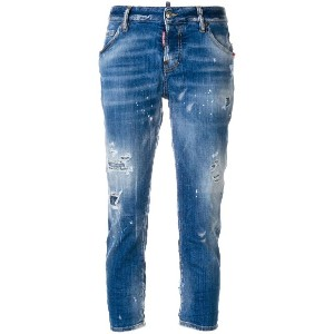 Dsquared2 distressed cropped jeans - ブルー