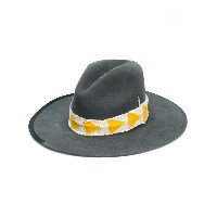 Nick Fouquet wide brim yellow and gold ribbon hat - グレー