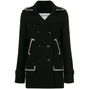 Chanel Vintage contrast-trim fitted coat - ブラック