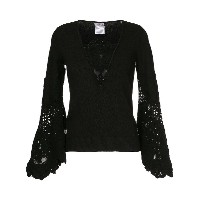 Chanel Vintage lace-embroidered flared top - ブラック