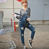 Plus size Korean New Womens Jumpsuit Denim Overalls Casual Skinny Girls Pants Jeans C0804