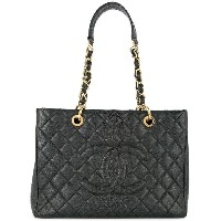 Chanel Vintage Quilted CC logos tote - ブラック