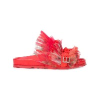 Alexander McQueen frill lace slides - レッド