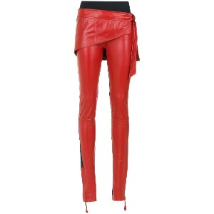 Andrea Bogosian layered leather trousers - レッド