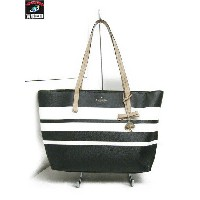 kate spade new york/ボーダー/レザー/トートバッグ/白黒【中古】
