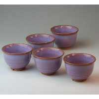 萩焼 釉彩汲み出し揃(木箱) Hagiyaki 5 tea cups made in Japan. Japanese pottery with wood box.