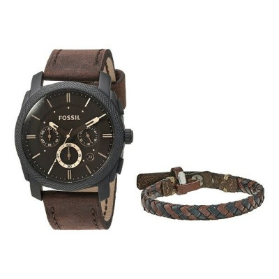 フォッシル メンズ 腕時計 アクセサリー Machine Watch and Bracelet Box Set - FS5251SET Dark Brown