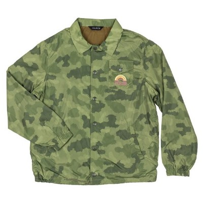 Poler Mountain Rainbow Coaches Jacket Furry Green Camo M コーチジャケット