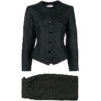 Yves Saint Laurent Vintage buttoned blazer and skirt suit - ブラック