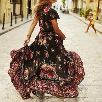 2017 New Womens Ethnic Print Vintage Bohemain Floor Dress Sexy Deep V Neck Tassel Beach Hippie Dress