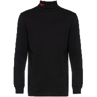032C Black embroidered logo turtleneck - ブラック