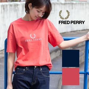 【FRED PERRY フレッドペリー】 FRED PERRY EMBROIDERED T-SHIRT G3108/レディース/トップス/半袖/Tシャツ/ロゴ/刺繍/ブランドロゴ/クルーネック...