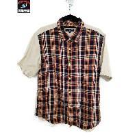 COMME des GARCONS HOMME/リネン切替半袖シャツ/S【中古】